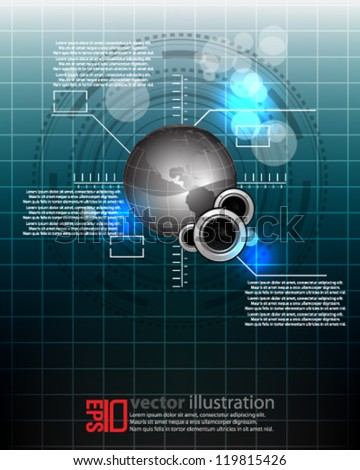 eps10 abstract vector design -  futuristic globe interface with speakers concept background - stock vector