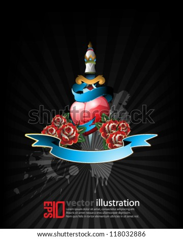 eps10 abstract vector design -  heart with roses and dagger futuristic tattoo concept - stock vector