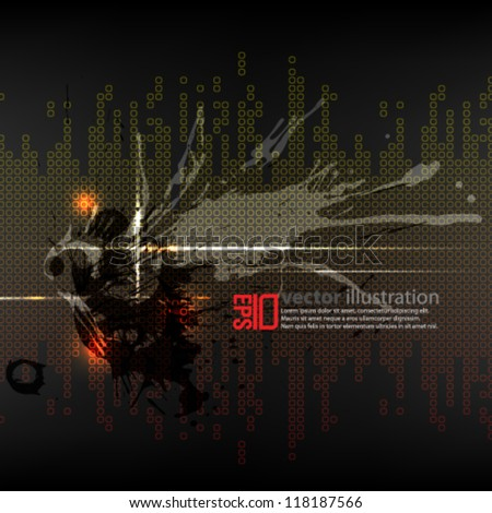 eps10 abstract vector design - ink futuristic illustration - stock vector