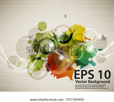 eps10 abstract vector design - multicolored ink splat with wave background - stock vector