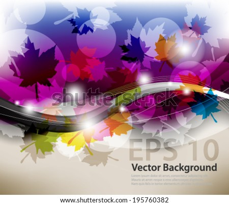 eps10 abstract vector design - multicolored maple leaf with wave design - stock vector