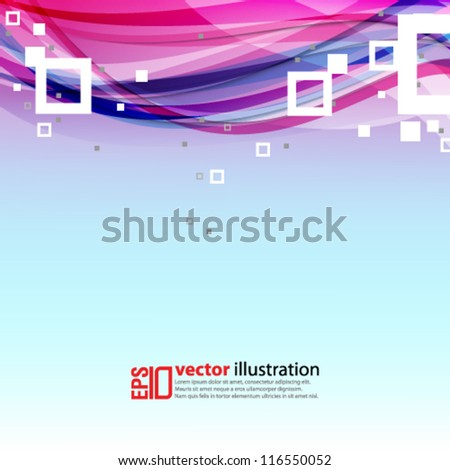 eps10 abstract vector design - multicolored wave with squares - stock vector