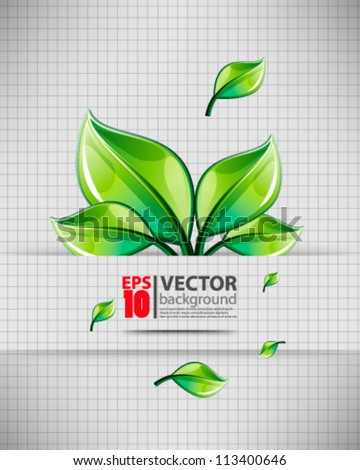 eps10 abstract vector leaves design with grid background - stock vector