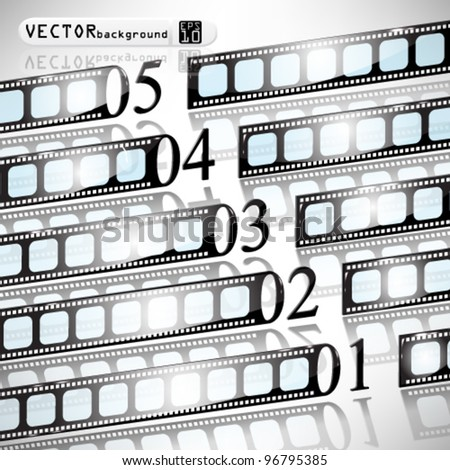 eps10 abstract vector numbered film strip concept design - stock vector