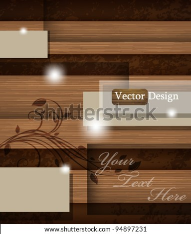 Eps10 Abstract Vector Vintage Wood Concept Background Design - stock vector