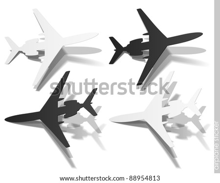 eps10, airplane sticker, realistic design elements - stock vector