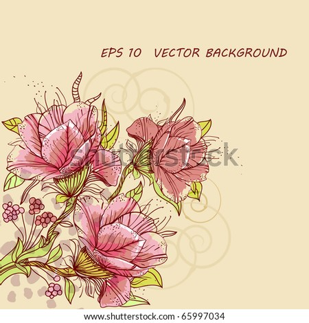 eps10 background with  rich hand drawn flowers, berries and swirls - stock vector