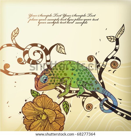 eps10 background  with the  colorful  spotted chameleon sitting on a tree branch with a blooming flower - stock vector
