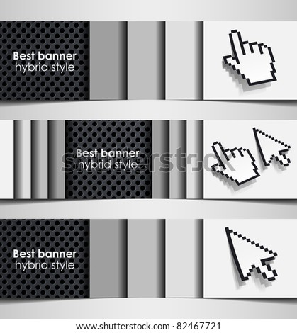 eps10, banner hybrid cursor combination hand internet abstract metal iron background - stock vector