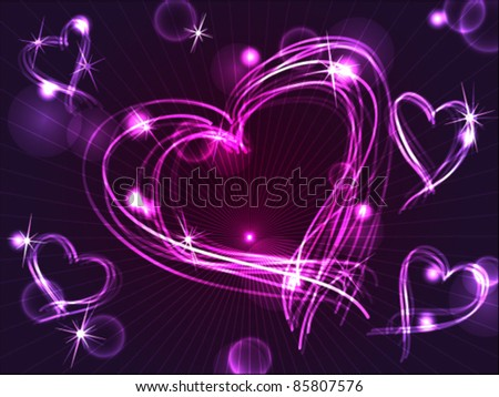 EPS 10: Beautiful and fun hand drawn purple plasma or neon hearts intersecting with different light effects, perfect for Valentine's day or other love celebration. - stock vector