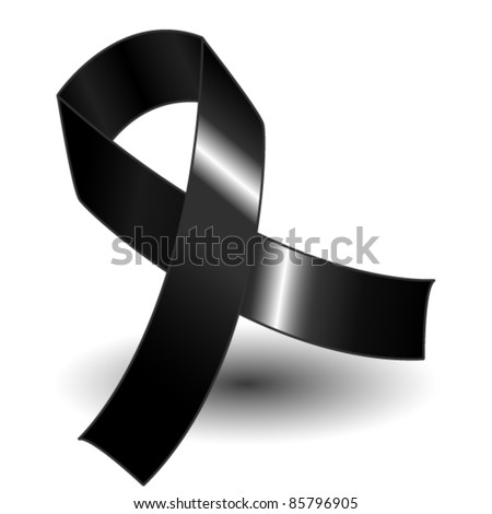 EPS 10: Black awareness ribbon over a white background with drop shadow, simple and effective. - stock vector
