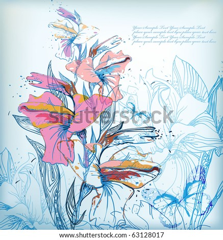 eps10 blue background with hand drawn colored gladiolus