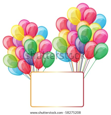 Eps10 color balloons with banner isolated on white - stock vector