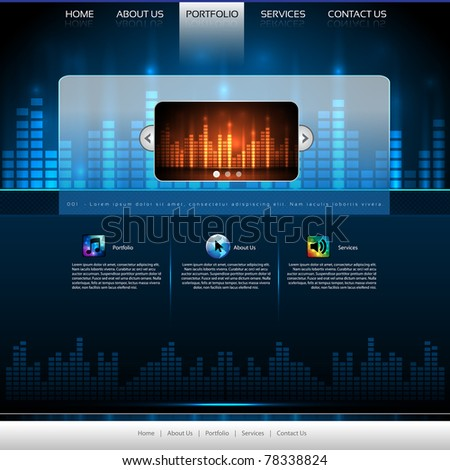EPS10 Colorful Music Website Template - Vector Design - stock vector