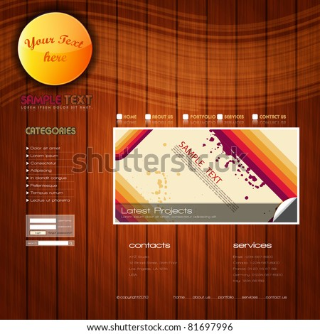 EPS10 Colorful Website Template - Vector Design - stock vector