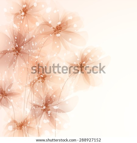 EPS 10. Contains transparent objects. Vector background with pastel flowers - stock vector