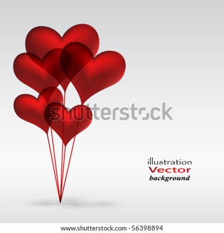 Eps10 Copula of red gel balloons in the shape of a heart - stock vector