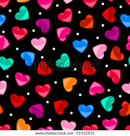 EPS 10: Cute and fun seamless pattern of colorful heart shapes over black background, perfect for Valentine's day or other love concept - stock vector