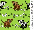 EPS 10: Cute and fun spotted cartoon dogs with paw prints and bones that can be used as borders or full wallpaper pattern, perfect for pet related articles. - stock photo