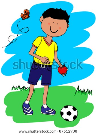 EPS 10: Cute little boy cartoon character going to school with his football or soccer ball and apple - stock vector