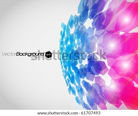 EPS10 3D Abstract fly hexagon shapes vector background - stock vector