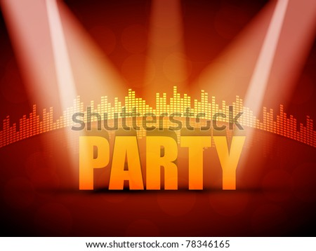 EPS10 3D Party Text with Colorful Lights Vector Design - Equalizer Background - stock vector
