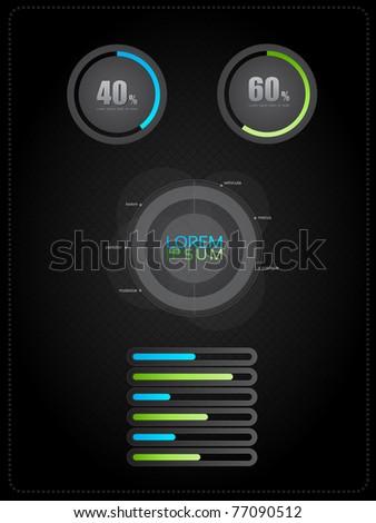 EPS10 Dark Diagrams and Charts - Vector Design - stock vector
