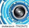 EPS10 Design for Bright Light-Blue Audiospeaker - Abstract Vector Background - stock photo