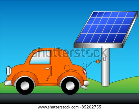 EPS 10: Eco friendly car concept cartoon with cute orange car just unplugged from a green energy source, solar panels, with copy space in the blue sky.