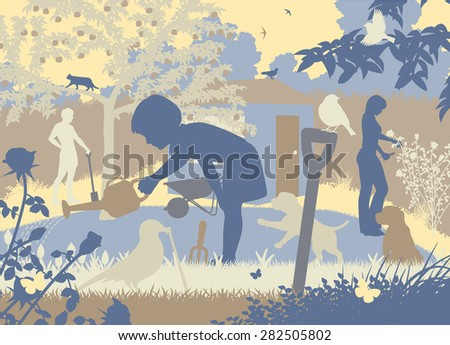 EPS8 editable vector cutout illustration of a family gardening with two puppies and wildlife - stock vector