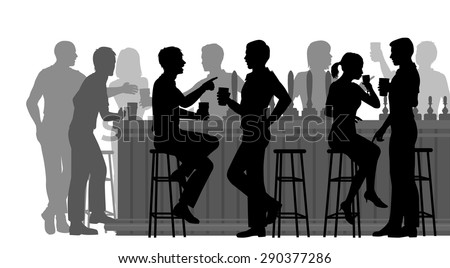 EPS8 editable vector cutout illustration of people drinking in a busy bar with all figures as separate objects