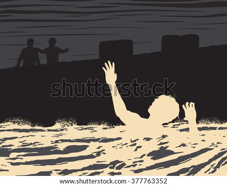 EPS8 editable vector illustration of a drowning man seen by two other men - stock vector