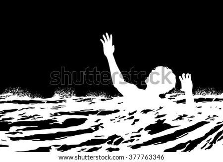 EPS8 editable vector illustration of a man drowning in rough water