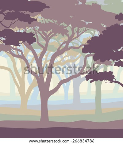 EPS8 editable vector illustration of an open acacia woodland in pastel colors - stock vector