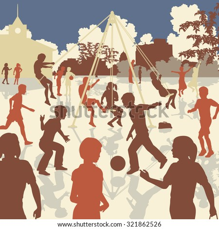 EPS8 editable vector illustration of children playing in a school playground - stock vector