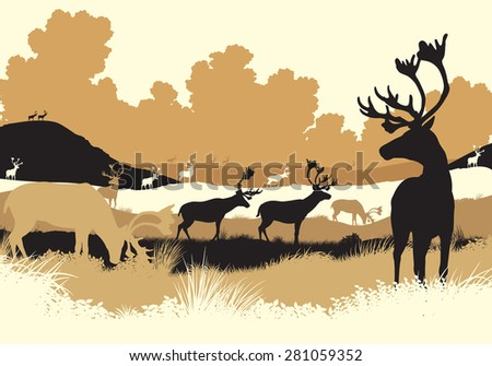 EPS8 editable vector illustration of reindeer or caribou moving across a tundra landscape with all figures as separate objects - stock vector