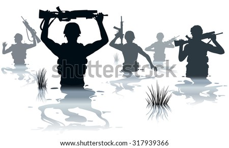 EPS8 editable vector illustration of soldiers on patrol wading through water - stock vector