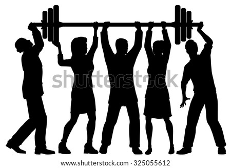 EPS8 editable vector silhouette of a business team working together to lift a heavy weight barbell with all figures as separate objects - stock vector