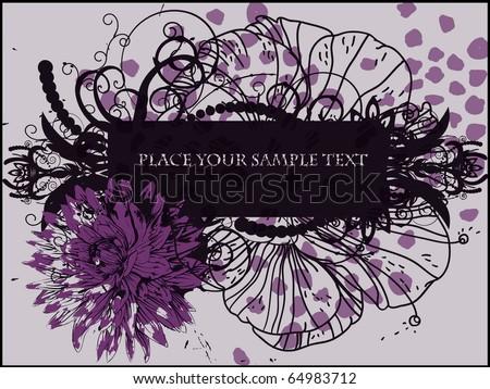 eps10 fantasy floral frame with violet chrysanthemum - stock vector