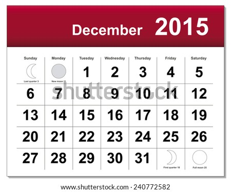 EPS10 file. December 2015 calendar. The EPS file includes the version in blue, green and black in different layers - stock vector