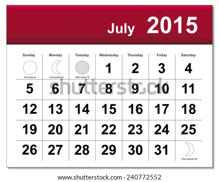 EPS10 file. July 2015 calendar. The EPS file includes the version in blue, green and black in different layers - stock vector