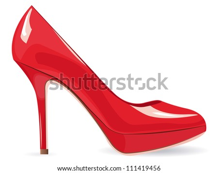 EPS10 file. Red high-heeled shoe over white with space to your own text - stock vector