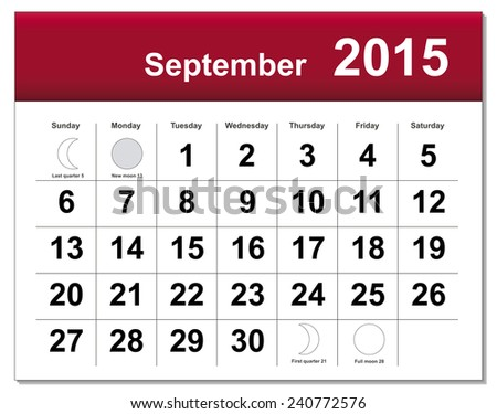 EPS10 file. September 2015 calendar. The EPS file includes the version in blue, green and black in different layers - stock vector