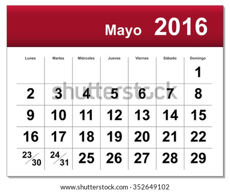 EPS10 file. Spanish version of May 2016 calendar. The EPS file includes the version in blue, green and black in different layers - stock vector