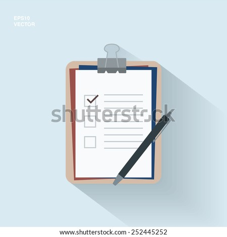 EPS10 flat design clipboard with checklist and pen for medical report, presentation, web page banner - blue, marsala version - stock vector