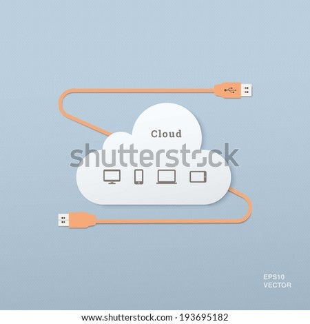 EPS10 flat UI usb cable and plug illustration with cloud computing icon set  for web design, banner, background - orange, blue version - stock vector