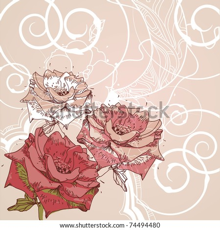 eps10 floral background with blooming roses and white swirls - stock vector