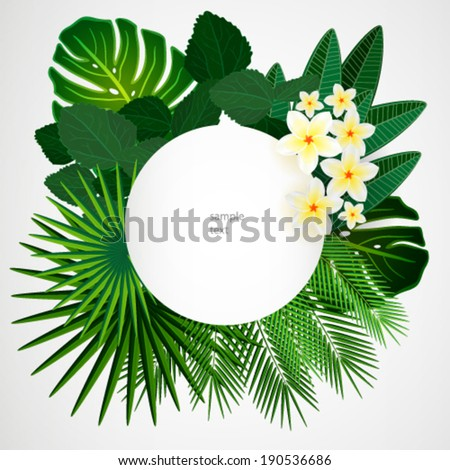 Eps10 Floral design background. Plumeria flowers and tropical leaves. - stock vector