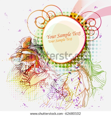 eps10 frame with hand-drawn colored flowers - stock vector