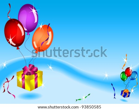 EPS 10: Fun colorful birthday card or background with floating gifts, balloons and ribbons in blue sky with various light effects and copy space.
